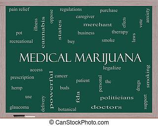 médico, marijuana, palabra, nube, concepto, en, un, pizarra