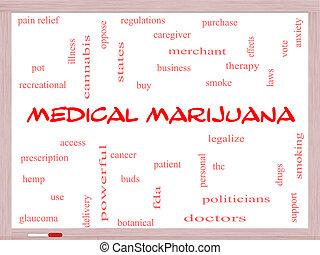 médico, marijuana, palabra, nube, concepto, en, un, whiteboard