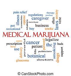 médico, marijuana, palabra, nube, concepto