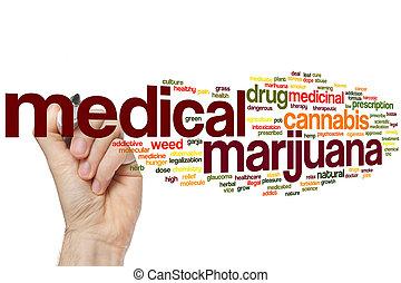médico, marijuana, palabra, nube