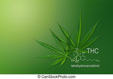 médico, marijuana, químico, tetrahydrocannabinol., thc, fórmula, cânhamo, estrutura molecular