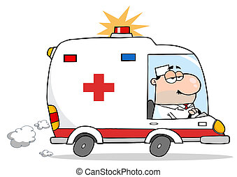 médico masculino, conducción, ambulancia