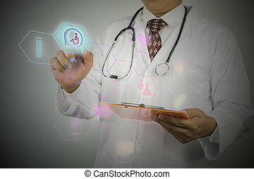 médico masculino, trabajando, con, estetoscopio