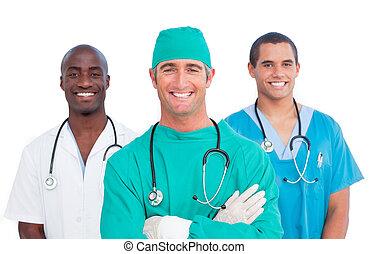 médico, men\'s, retrato equipe
