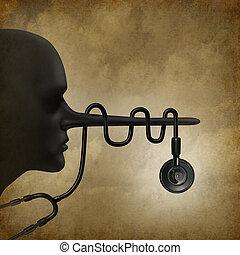 médico, mentiras, concepto