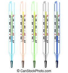 médico, mercurio, vidrio, termómetro