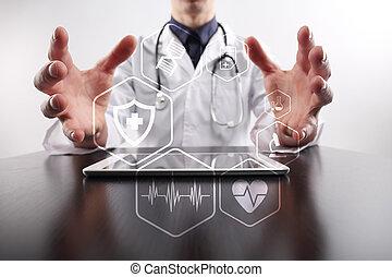 médico, moderno, protection., salud, medicine., tecnología, concept.