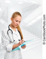 médico, mulher, estetoscópio, sorrindo, doutor