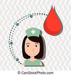 médico, mulher, sangue, pessoal