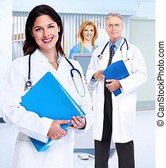 médico, mulher sorri, stethoscope., doutor
