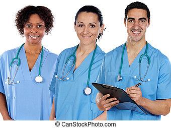 médico, multi-étnico, equipe