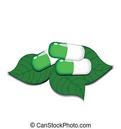 médico, natural, três, pílulas