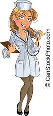 médico, niña, en, uniforme blanco, con, phonendoscope