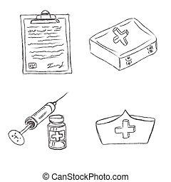 médico, objetos