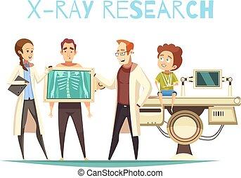 médico, orthopedist, caricatura, ilustración, doctor
