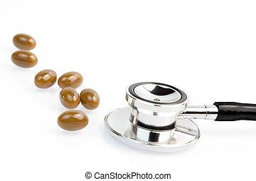 médico, píldoras, cerca, estetoscopio
