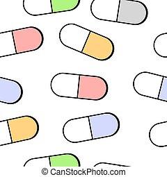 médico, pílulas, seamless, pattern.