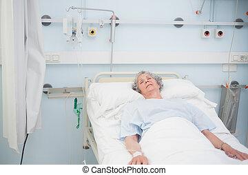 médico, paciente, cama, idoso, dormir