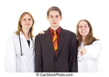 médico, paciente, doutores