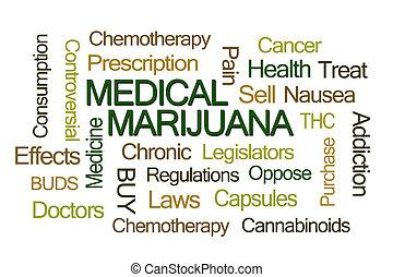 médico, palavra, marijuana, nuvem