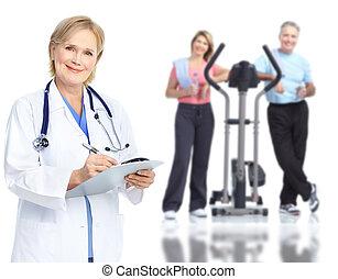 médico, patient., par, idoso, doutor