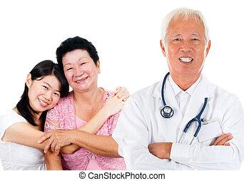 médico, perícia, asiático, doutor
