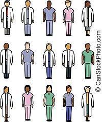médico, pessoas, ícones