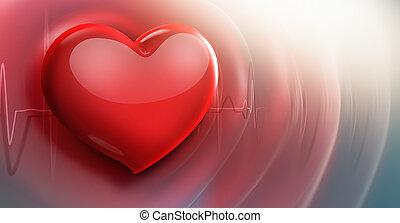 médico, plano de fondo, con, corazón rojo