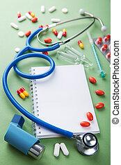 médico, plano de fondo, con, cuaderno