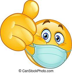 médico, polegar cima, máscara, emoticon