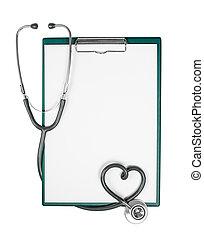 médico, portapapeles, con, estetoscopio, en forma, de, corazón