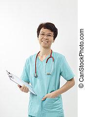 médico, portapapeles, tenencia