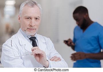 médico, positivity, trabajo, alegre, expresar, viejo
