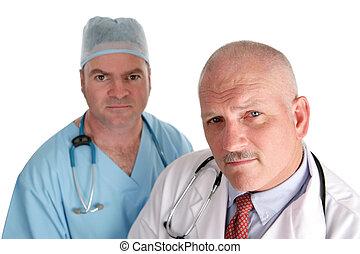 médico, preocupado, equipe