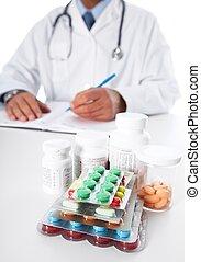 médico, prescrição, doutor, escrita