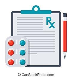 médico, prescripción, icono
