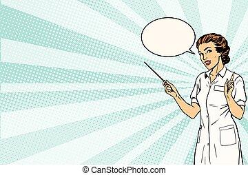 médico, presentación, hembra, plano de fondo, doctor