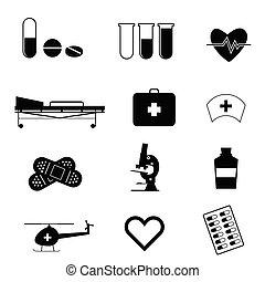 médico, pretas, ilustração, ícone
