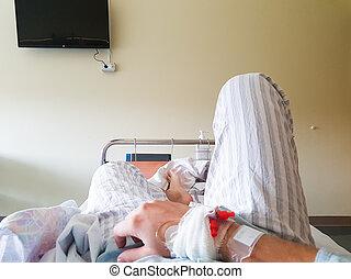 médico, punto, bed., paciente, vista, acostado