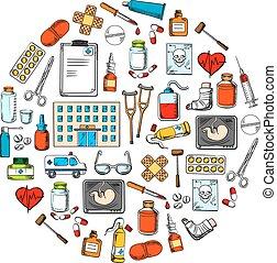 médico, redondo, símbolo, com, esboço, ícones