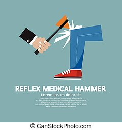 médico, reflejo, hammer.