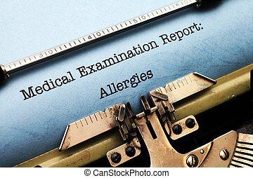 médico, relatório, -, alergias