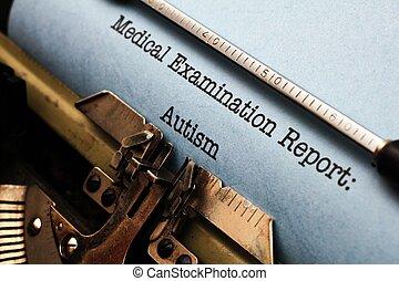 médico, relatório, -, autism