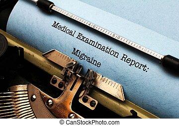 médico, relatório, -, enxaqueca