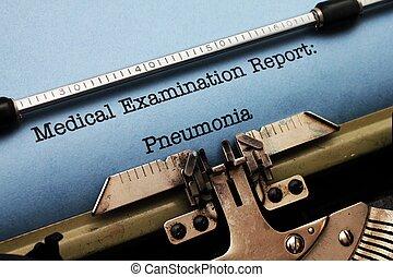 médico, relatório, -, pneumonia