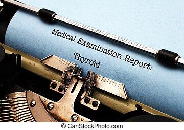 médico, relatório, -, tiróide