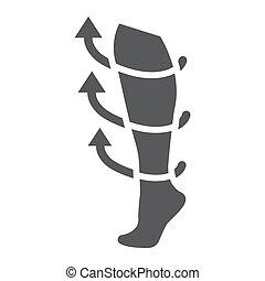 médico, sólido, patrón, medicina, vector, gráficos, fondo., calcetines, medias, icono, blanco, glyph, equipo, compresión, señal