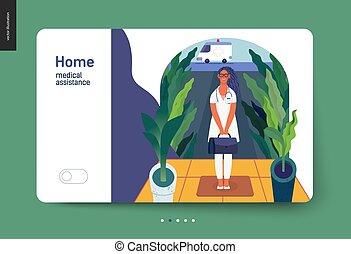 médico, -, seguro, modelo, lar, assistência