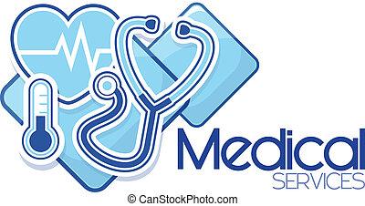 médico, serviços, desenho, sinal