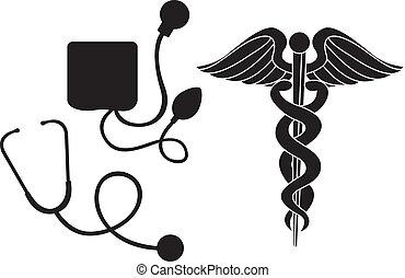 médico, silueta, sinal